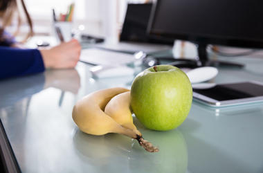 Office, Job, Desk, Computer Banana, Apple