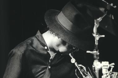 Miles Davis, Concert, Trumpet, Hat, 1983, Black and White