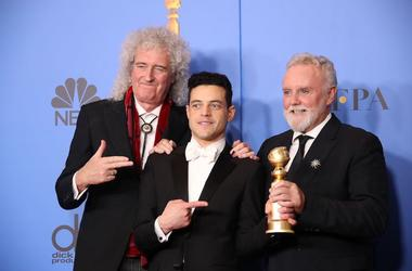 Brian May, Rami Malek, Roger Taylor, Queen, 76th Golden Globe Awards, 2019