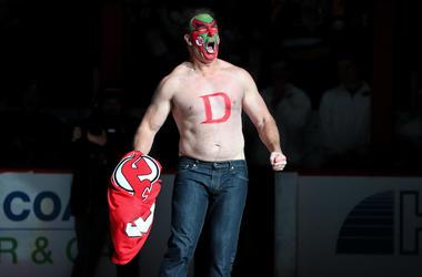 Patrick Warburton, David Puddy, Seinfeld, Face Paint, Shirtless, NHL, New Jersey Devils
