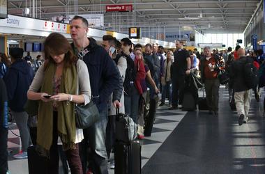Passengers in line to go through TSA