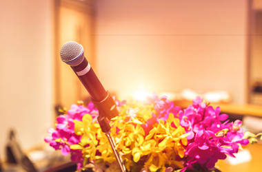 Microphone, Stage, Flowers