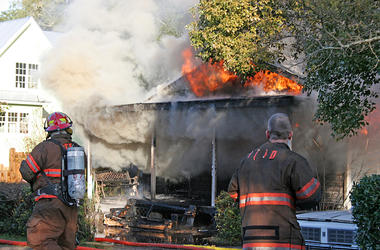 Firefighters, Burning, House, Flames, Smoke, Fire