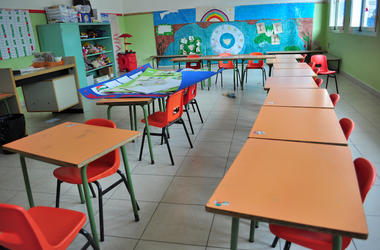 Kindergarten, Class, Empty, Desks, School