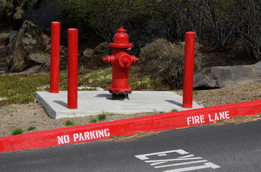Red, Fire Hydrant, Street, No Parking, Barricade