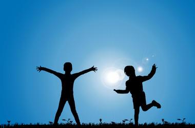 Siblings, Playing, Meadow, Blue Sky, Silhouette