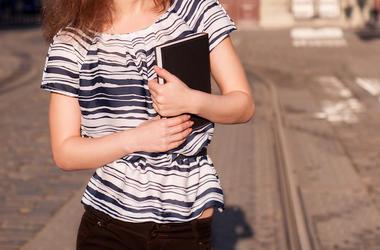Woman, Carrying Book, Walking, Street, Morning