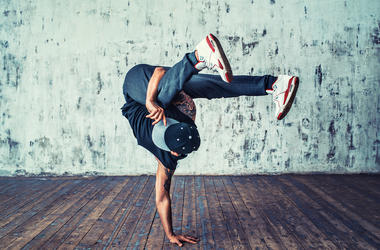 Young Man, Breakdancing, Dancing, Break Dancing, Wooden Floor