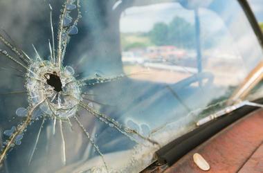 Car, Broken Windshield, Hole