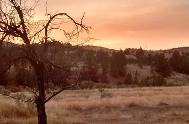 Desert, Wildfire, Haze, Sunset