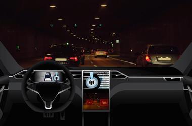 Self Driving, Car, Interior, Highway
