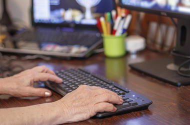 Elderly, Old, Woman, Typing, Keyboard