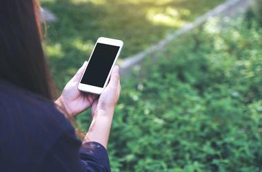 Woman, Smartphone, Grass, Black Screen
