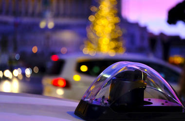 Police, Squad Car, Siren, City, Downtown, Christmas Tree, Lights