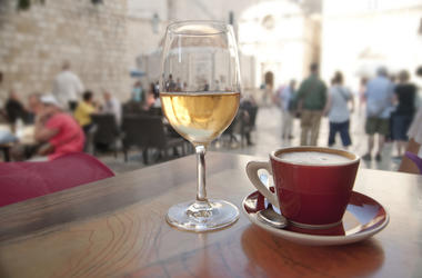 Wine, Coffee, Cafe, Crowded Street