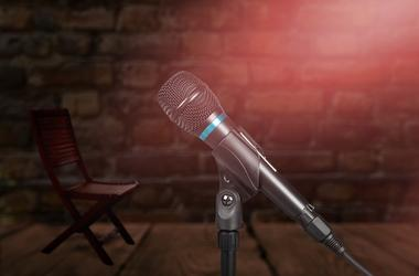 Microphone, Microphone Stand, Brick Wall, Comedy Club