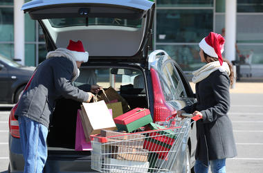 Young Couple, Christmas, Presents, Shopping, Cart, Trunk