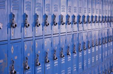 School, Blue, Lockers, Close Up