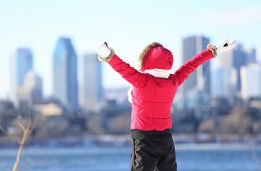 Single, Woman, Winter, Happy, Arms Raised