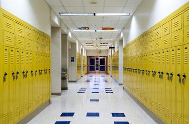 School, Hallway, Lockers, Yellow