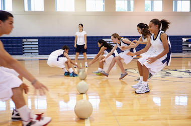 Dodgeball, Gym, High School, Students, Coach