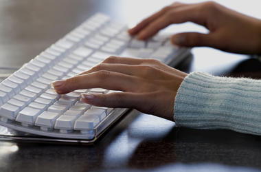 Woman, Typing, Hands, Computer, Keyboard