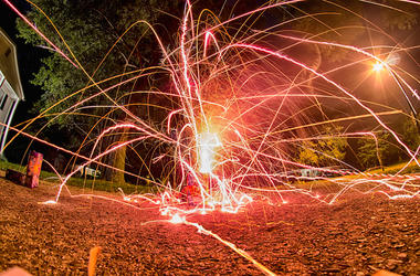 Red, Fireworks, Home, Driveway