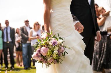 Wedding, Bride, Groom, Holding Hands