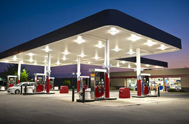 Convenience Store, Gas Station, Twilight, Sunset