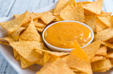 Nacho Cheese, Dip, Chips, Wooden Table