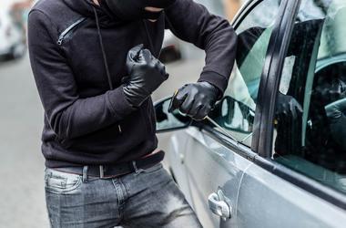 Male, Car Thief, Breaking In, Window, Screwdriver