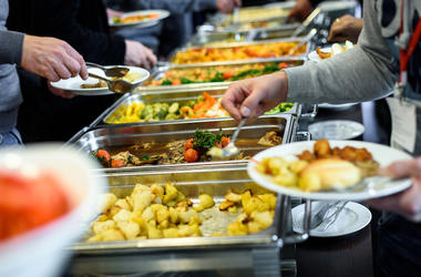 Buffet, Food, Metallic Trays
