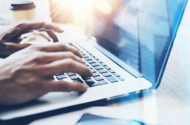 Laptop, Computer, Hands, Bright