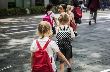 Kindergarten, Class, Walking, Uniforms, Backpacks