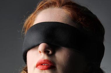 Portrait, Blindfolded, Woman, Redhead