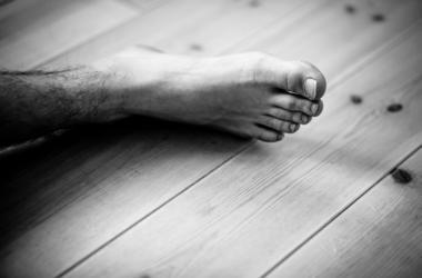 Male Foot, Wooden Floor