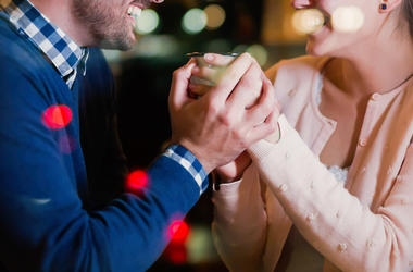Man, Woman, Smiling, Talking, Holding Hands, Bar