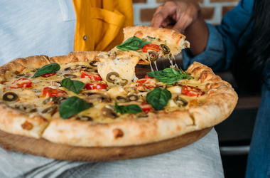 Woman, Fresh, Baked, Pizza, Slice