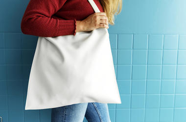 Tote Bag, Woman, Red Sweater