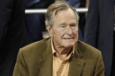 George HW Bush, President, Basketball Game, 2011, Suit, Smile