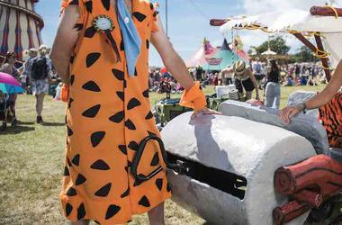 Fred Flintstone, Costume, Car, Footmobile, Music Festival