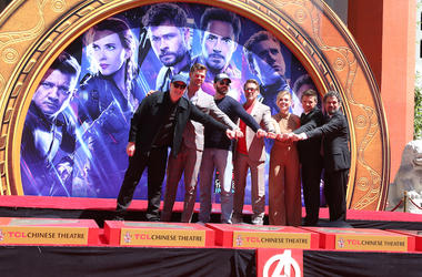 Avengers: Endgame, Handprint Ceremony, TCL Chinese Theatre, Kevin Feige, Chris Hemsworth, Chris Evans, Robert Downey Jr., Scarlett Johansson, Mark Ruffalo, Jeremy Renner