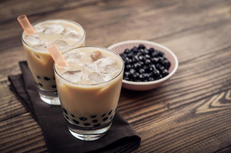 Bubble Tea, Boba Tea, Tapioca Pearls, Table, Wooden Background