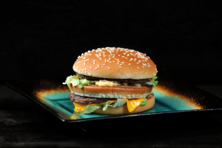 McDonald's, Big Mac, Plate, Black Background, Hamburger