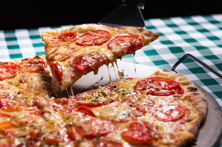 Pizza, Gooey Cheese, Slice, Pepperoni, Restaurant