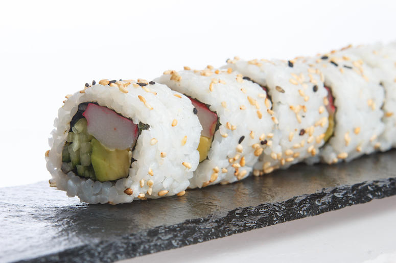 Sushi, California Roll, Plate, White Background