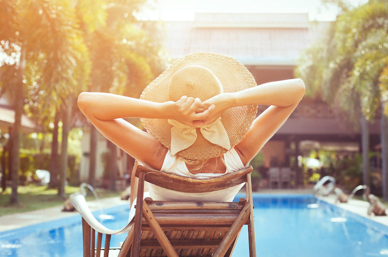 Woman, Relaxing, Pool, Resort, Hotel, Sunbathing, Hat