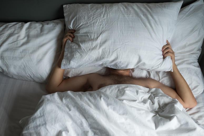 Man, Sleeping, Bed, Pillow, Snoring