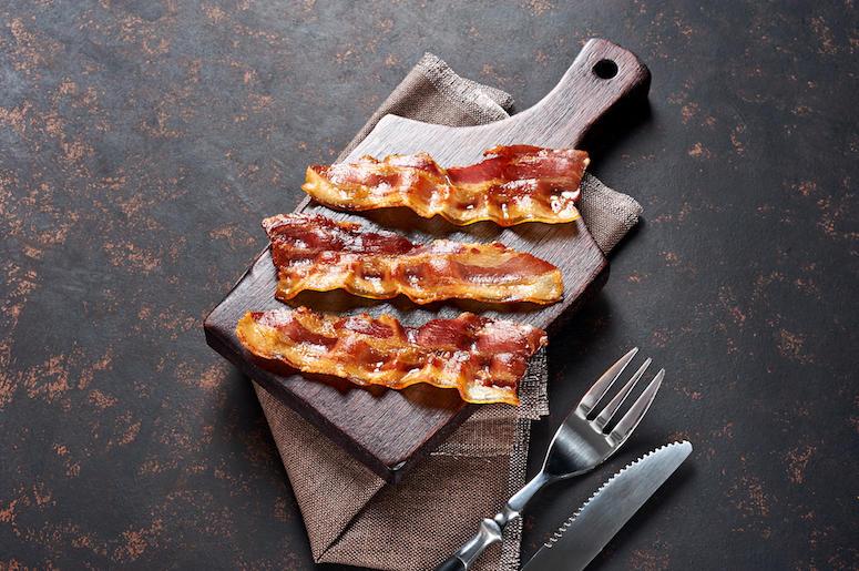 Fried Bacon, Wooden Cutting Board, Fork, Knife