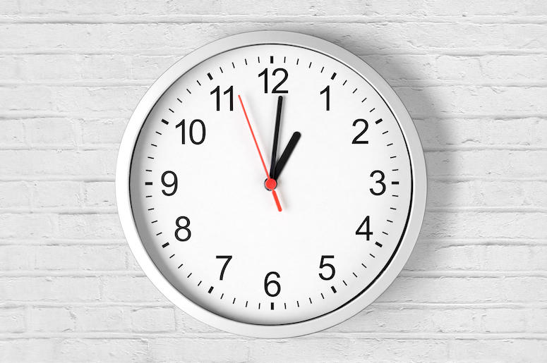 Clock, Time, White Brick Wall